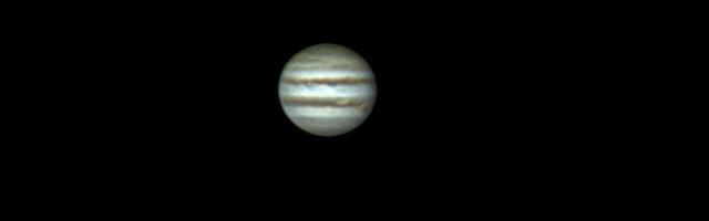 Jupiter webcam filmade genom min 12 tum f10 LX200 den 17 februari och sedan bildbehandlad i ReiStax 6. Jag använde en 2x APO Barlow.