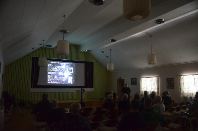 Dags för föredrag i FH:S A-sal under Sagittarius 2014 i augusti. Lördagen var som vanligt mest aktiv. Foto: Sven Bernersson.