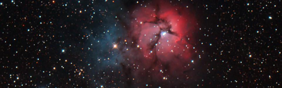 M20 Trifidnebulosan tagen med en IR-moddad Canon 450D. Exponeringstid 8*6 minuter med ISO 800.