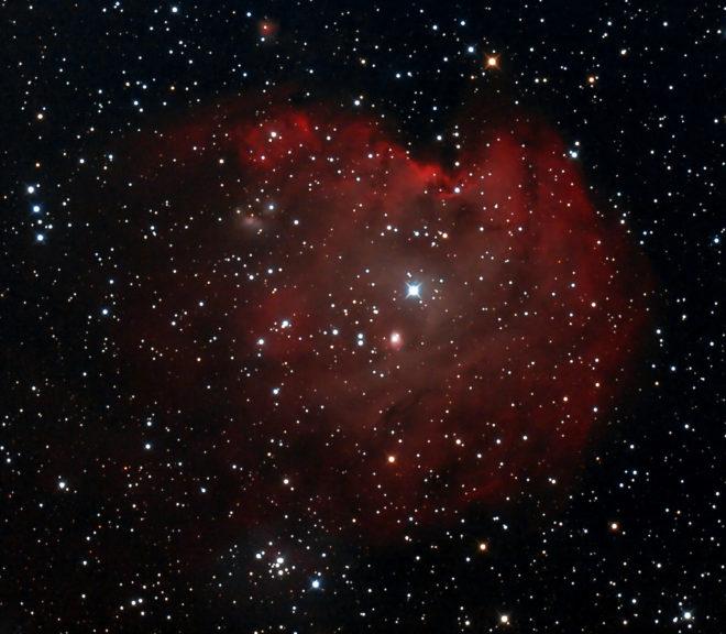 NGC2175 (eller Sh 2-252). En stjärnhop med nebulositet mellan Orion och Tvillingarna