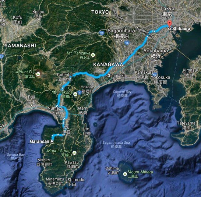 Karta som visar bilvägen från mitt hem i Tokyo till Izu halvön.