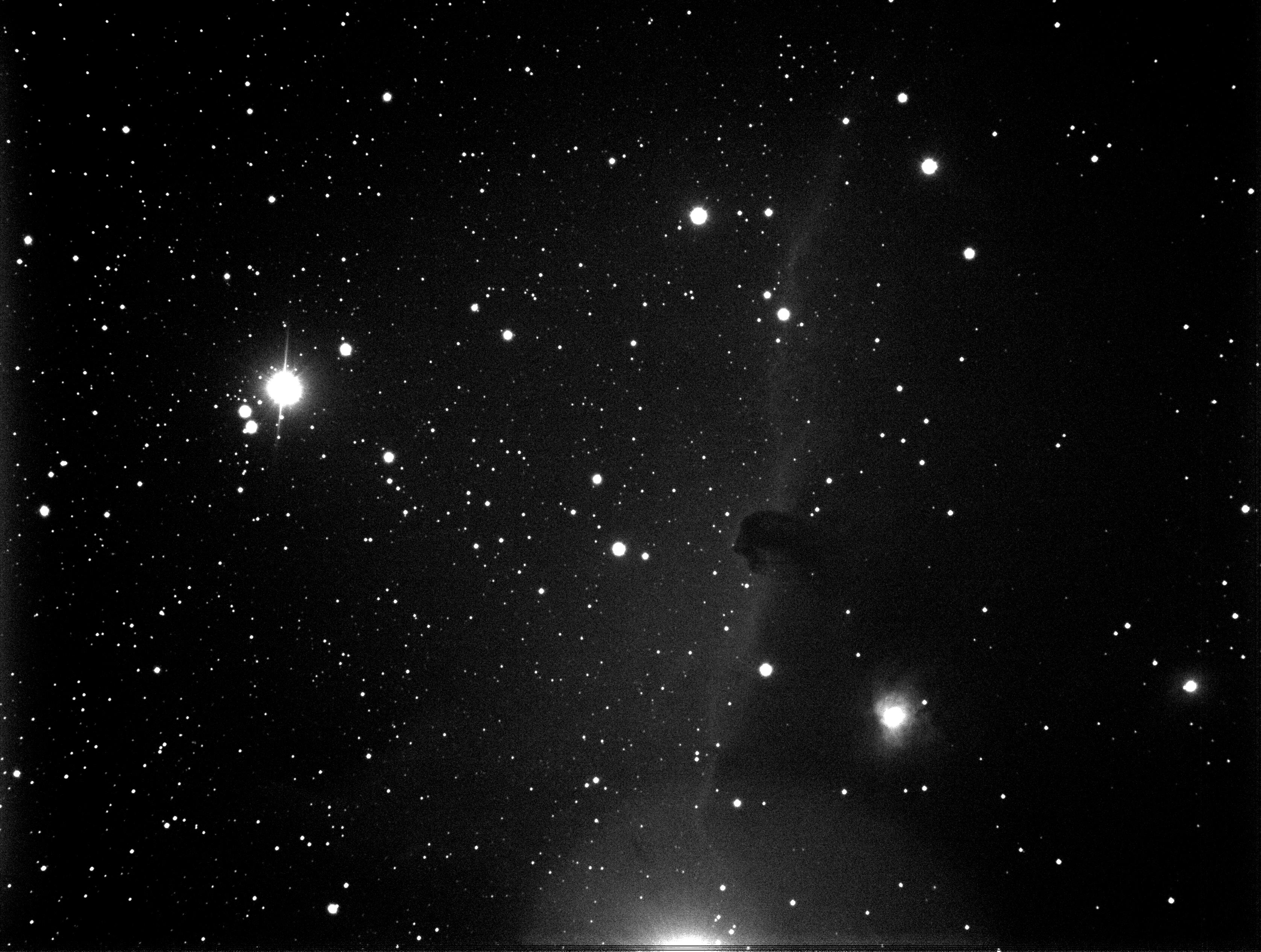 Hästhuvudnebulosan B33 i Orion mot IC434 i rött ljus. 10x20 sekunder. bin 2x2. 102mm f/7 refraktor. 27.12.2016. SBIG ST-8300 CCD. Foto: Jörgen Danielsson, Nybro.