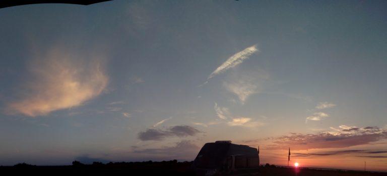 En vacker solnedgång, mulet men Saturnus syntes ändå tillslut